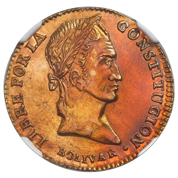 Potosi, Bolivia, gold 2 scudos, 1841LR, rare, NGC UNC details / cleaned.