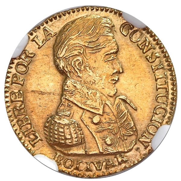 Potosi, Bolivia, gold 1 scudo, 1831JL, NGC MS 62, finest known in NGC census, ex-Lissner.