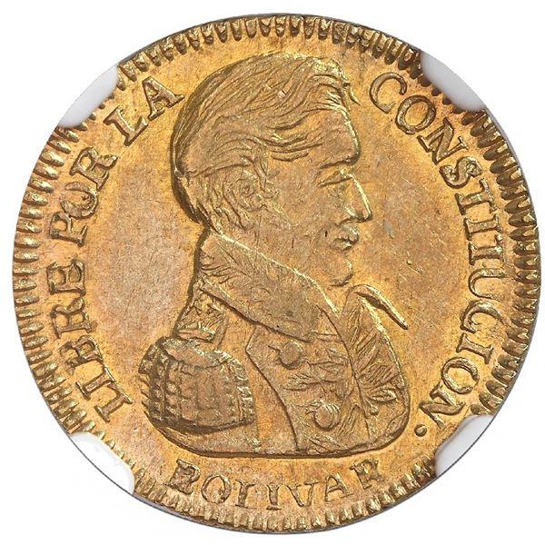Potosi, Bolivia, gold 1 scudo, 1835LM, NGC AU 55, ex-Newman.