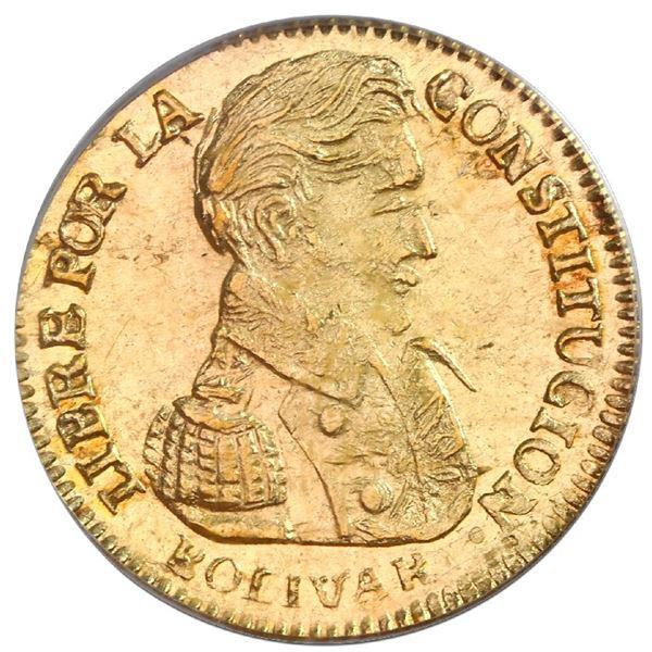 Potosi, Bolivia, gold 1 scudo, 1837LM, PCGS AU58.