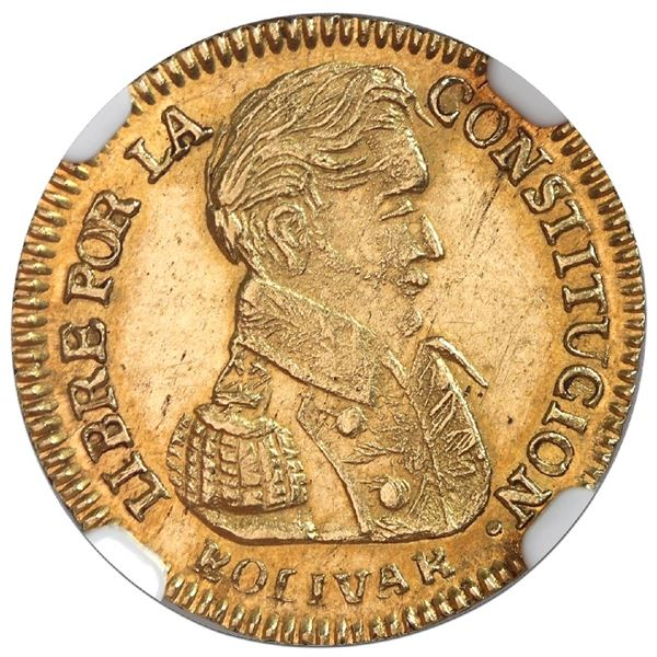 Potosi, Bolivia, gold 1 scudo, 1838LM, NGC MS 61, finest known in NGC census.