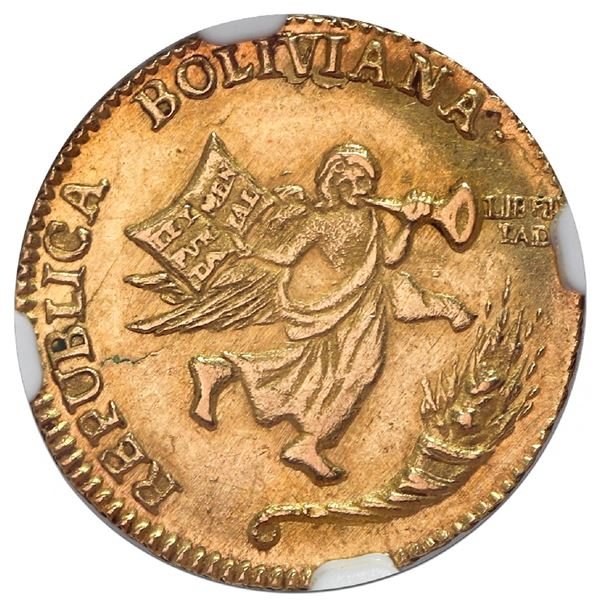 Potosi, Bolivia, gold 1 scudo (medallic coinage), 1839, Constitution, very rare (two known), NGC MS