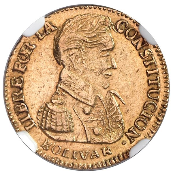 Potosi, Bolivia, gold 1 scudo, 1839LM, NGC AU 53, finest and only example in NGC census.