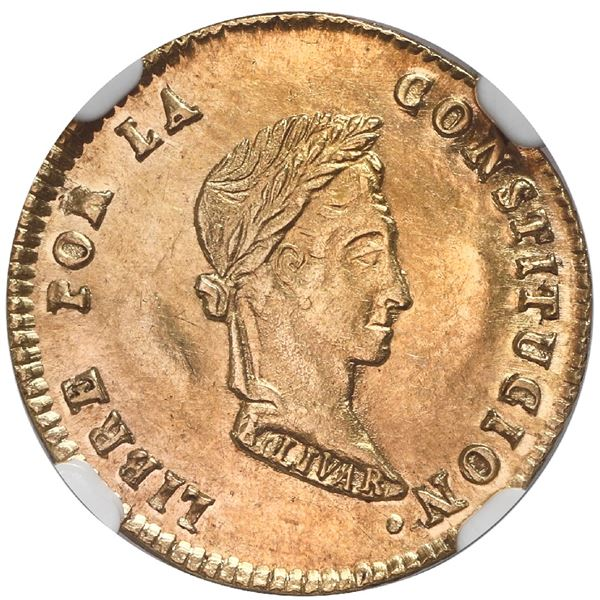 Potosi, Bolivia, gold 1 scudo, 1853MJ, NGC MS 62.