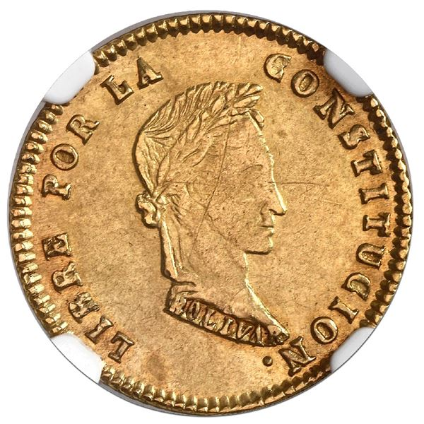 Potosi, Bolivia, gold 1 scudo, 1855MJ, NGC AU 55, ex-Newman.