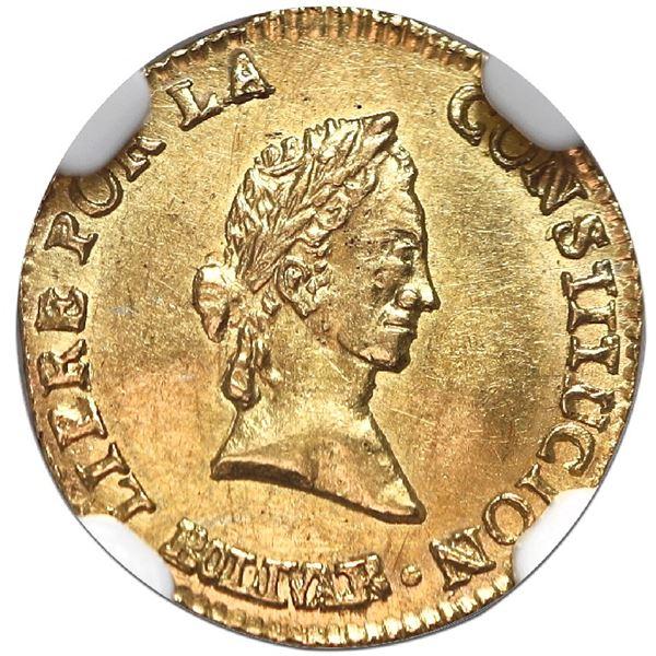 Potosi, Bolivia, gold 1/2 scudo, 1842LR, NGC MS 63, ex-Flores.