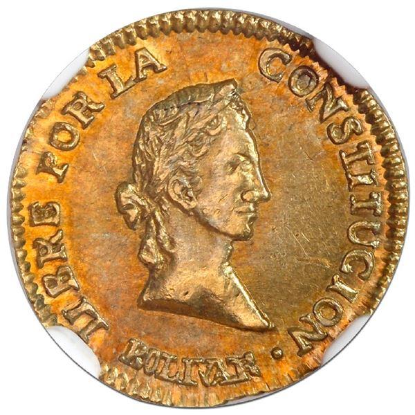"""Potosi, Bolivia, gold 1/2 scudo, 1844R, coin axis, NGC MS 62 (""""top pop""""), ex-Newman."""