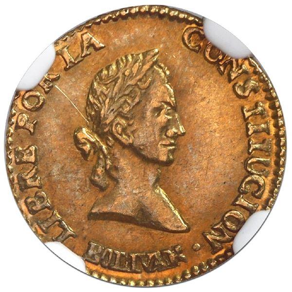 Potosi, Bolivia, gold 1/2 scudo, 1844R, medal axis, NGC AU 55, ex-Newman.