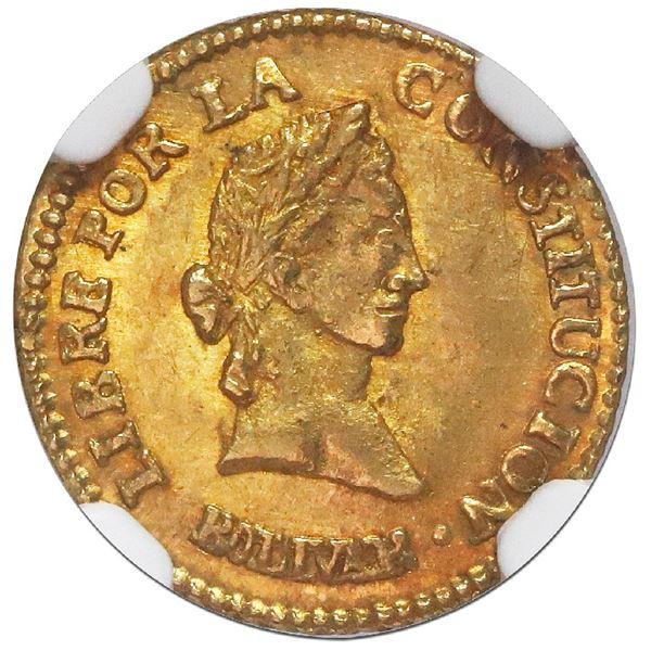 Potosi, Bolivia, gold 1/2 scudo, 1845R, NGC MS 64, ex-Newman.