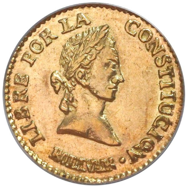 Potosi, Bolivia, gold 1/2 scudo, 1846R, PCGS AU58.