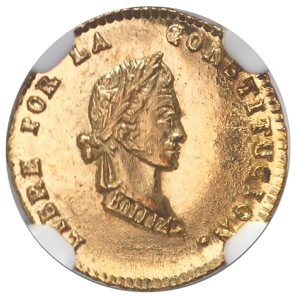 Potosi, Bolivia, gold 1/2 scudo, 1852/1FP, NGC MS 64, finest known in NGC census.