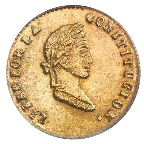 Potosi, Bolivia, gold 1/2 scudo, 1855FP, PCGS MS64.