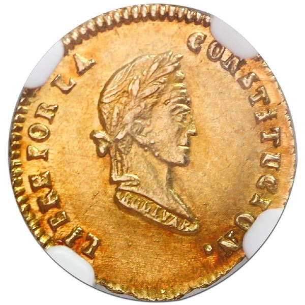 Potosi, Bolivia, gold 1/2 scudo, 1855MJ, NGC MS 64 with WINGS gold sticker, finest known in NGC cens
