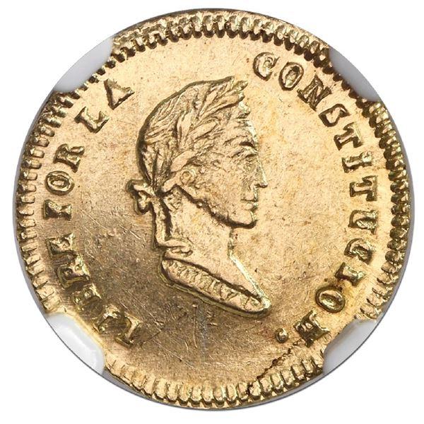 Potosi, Bolivia, gold 1/2 scudo, 1856FJ, NGC MS 62.