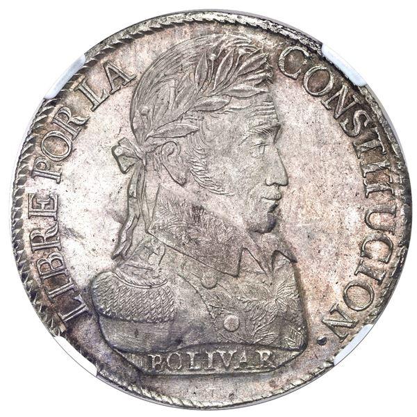 Potosi, Bolivia, 8 soles, 1827JM, laureate head, NGC MS 61.
