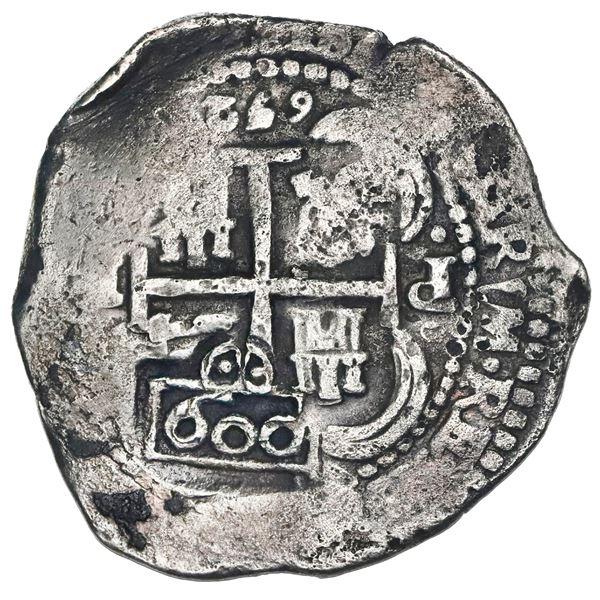 Brazil, 600 reis, crowned-600 countermark (1663) on a Potosi, Bolivia, cob 8 reales, 1652E post-tran