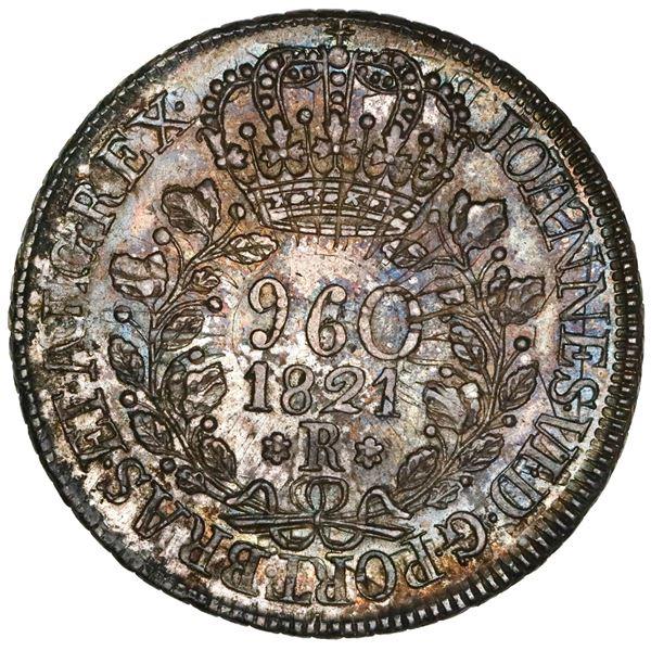"Brazil (Rio mint), 960 reis, Joao VI, 1821-R, struck over an Argentina (River Plate Provinces) ""sunf"