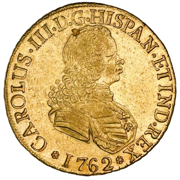 Santiago, Chile, gold bust 8 escudos, Charles III (bust of Ferdinand VI), 1762J.