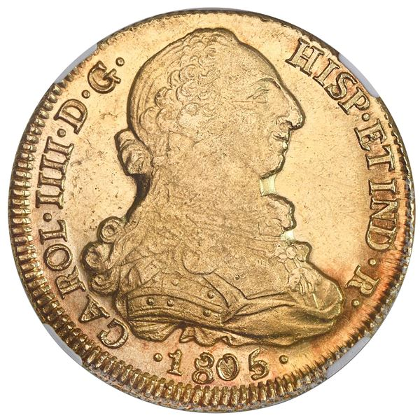 Santiago, Chile, gold bust 8 escudos, Charles IV (bust of Charles III), 1805FJ, NGC MS 62, finest kn