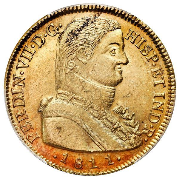 "Santiago, Chile, bust 8 escudos, Ferdinand VII transitional (""admiral"" bust), 1811FJ, PCGS MS62."