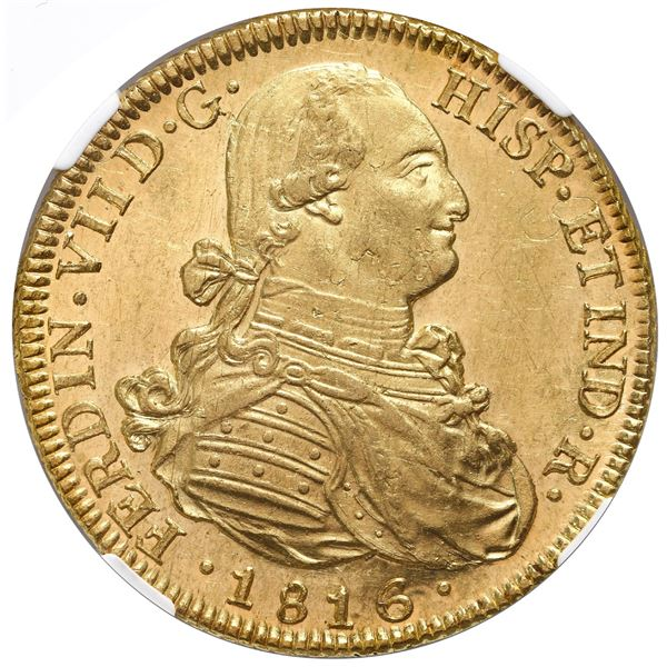 """Santiago, Chile, gold bust 8 escudos, Ferdinand VII (bust of Charles IV), 1816FJ, NGC MS 62 (""""top po"""