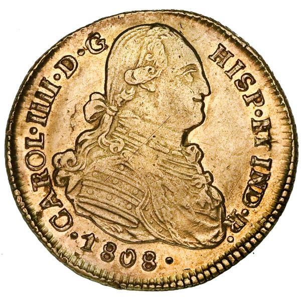 Santiago, Chile, gold bust 4 escudos, Charles IV, 1808FJ, rare.