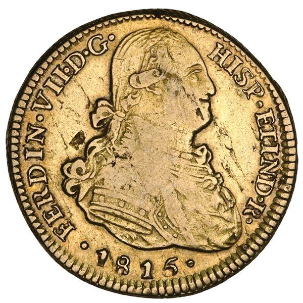 Santiago, Chile, gold bust 4 escudos, Ferdinand VII (bust of Charles IV), 1815FJ, unique (unlisted),