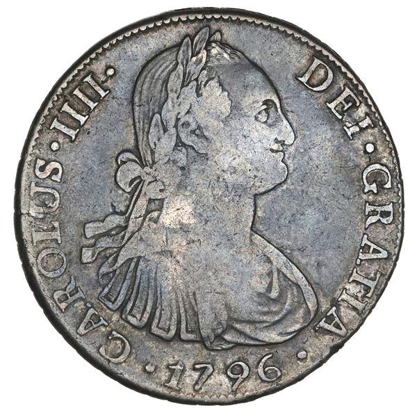 Santiago, Chile, bust 8 reales, Charles IV, 1796DA, NGC VF 20.