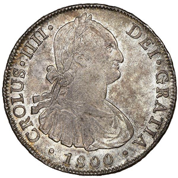 "Santiago, Chile, bust 8 reales, Charles IV, 1800AJ, ""CROLUS"" error, very rare, NGC AU 55, finest"