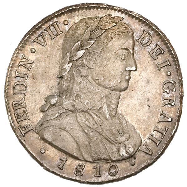 """Santiago, Chile, bust 8 reales, Ferdinand VII transitional (laureate """"admiral"""" bust), 1810FJ, NGC MS"""