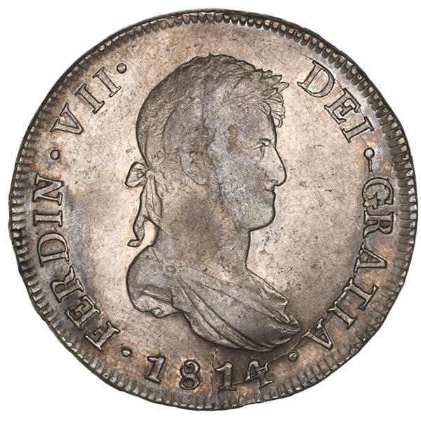 Santiago, Chile, bust 8 reales, Ferdinand VII, 1814FJ, NGC AU 55.