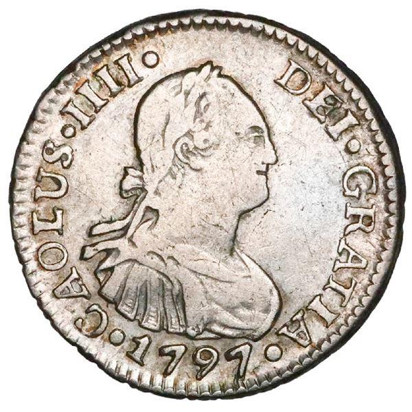 "Santiago, Chile, bust 1/2 real, Charles IV, 1797DA, ""CAOLUS"" error, rare, NGC VF details / rev scrat"