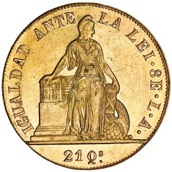 """Santiago, Chile, 8 escudos, 1851LA, incuse ENERO on edge, NGC MS 61 (""""top pop"""")."""