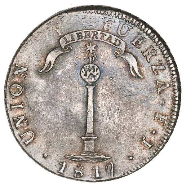 "Santiago, Chile, ""volcano"" peso, 1817FJ, ""Y"" to left, NGC AU 50."