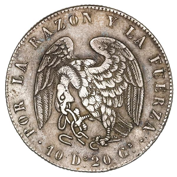 Santiago, Chile, 8 reales, 1839IJ, XF details / cleaned.