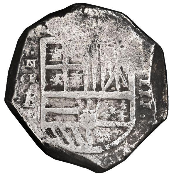 Cartagena, Colombia, cob 8 reales, Philip IV, assayer E below mintmark NR to left (1626-30), rare, P