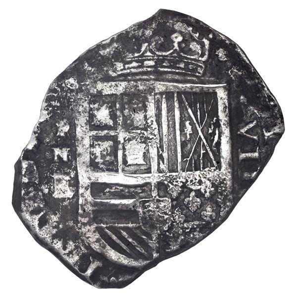 Cartagena, Colombia, cob 8 reales, Philip IV, assayer E below mintmark RN to left (1626-30), rare, N