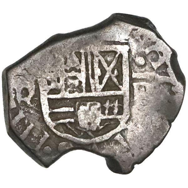 Bogota, Colombia, cob 1 real, Philip IV, assayer R below denomination I to right (no dot in between)