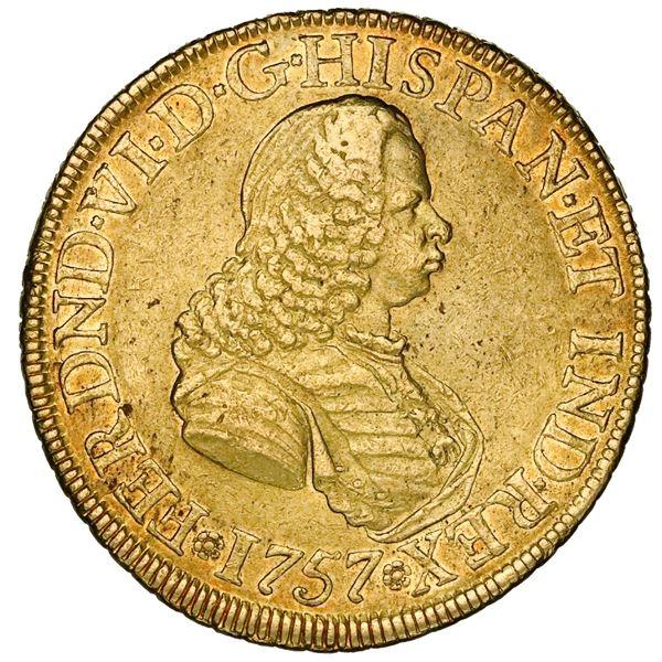 Bogota, Colombia, gold bust 8 escudos, Ferdinand VI, 1757SJ.