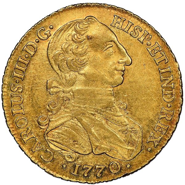 """Bogota, Colombia, gold bust 8 escudos, Charles III (""""rat nose"""" type), 1770/69VJ, NGC AU 58, finest a"""