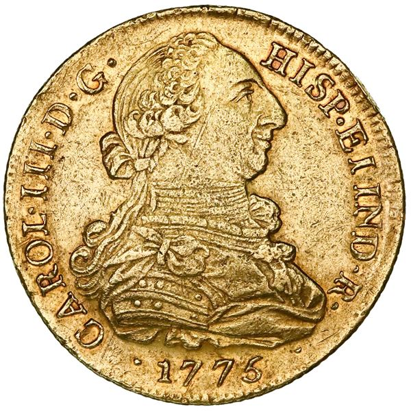 Popayan, Colombia, gold bust 8 escudos, Charles III, 1775JS.