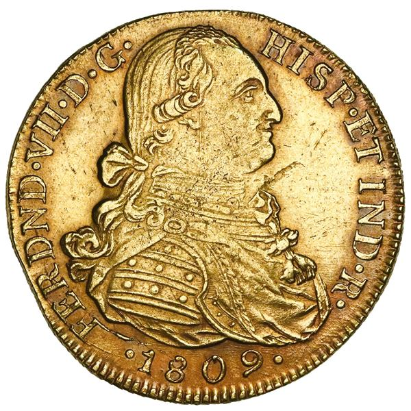 Bogota, Colombia, gold bust 8 escudos, Ferdinand VII (bust of Charles IV), 1809JF, NGC AU 55.