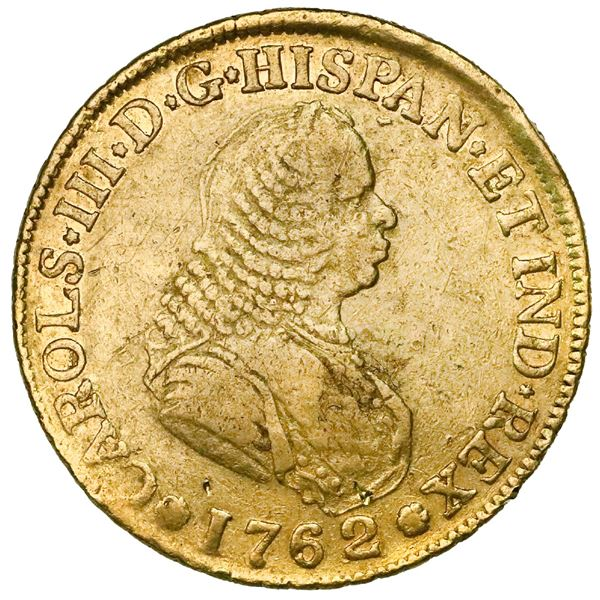 Popayan, Colombia, bust 4 escudos, Charles III (bust of Ferdinand VI), 1762J, mintmark P•N.