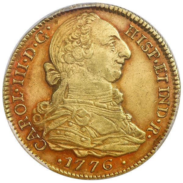 Popayan, Colombia, gold bust 4 escudos, Charles III, 1776SF, PCGS AU55.