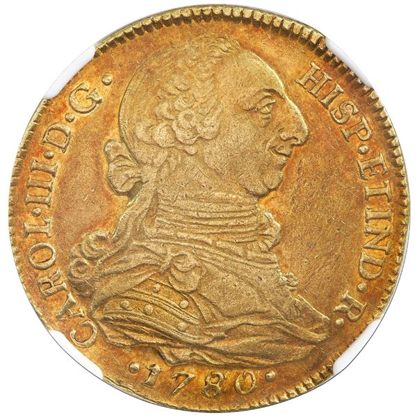 """Popayan, Colombia, gold bust 4 escudos, Charles III, 1780/70SF, unlisted overdate, NGC AU 55 (""""top p"""