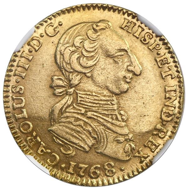 """Bogota, Colombia, gold bust 2 escudos, Charles III (""""rat nose"""" type), 1768JV, NGC AU 55."""