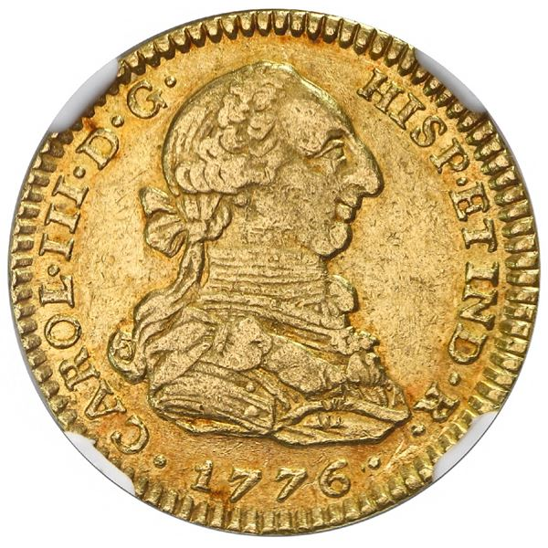 """Bogota, Colombia, gold bust 2 escudos, Charles III, 1776JJ, dot between assayers, NGC AU 55 (""""top po"""