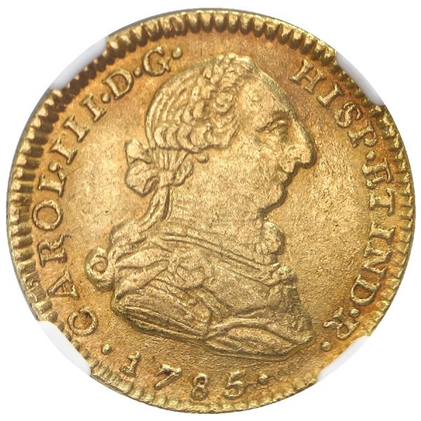 Bogota, Colombia, gold bust 2 escudos, Charles III, 1785JJ, NGC AU 55, finest and only example in NG