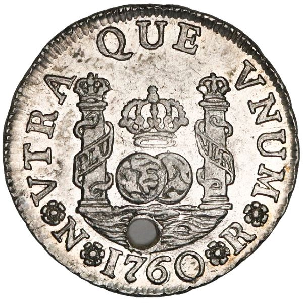 Bogota, Colombia, pillar 1 real, Charles III, 1760JV, very rare, NGC UNC details / holed, finest kno