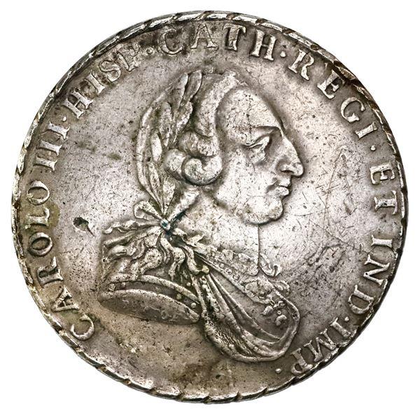 Bogota, Colombia, 8 reales proclamation medal, Charles III, 1760, engraver Bento, eagle left, rosett